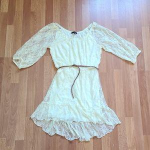 Heart soul laced cream tone boho belted dress